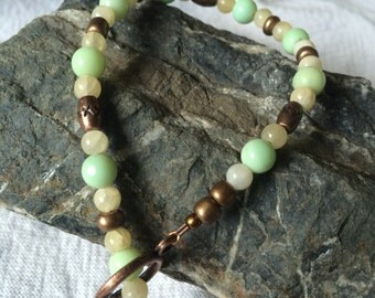Chrysoprase and Calcite Healing Gemstone Bracelet, Reiki Crystal Jewelry