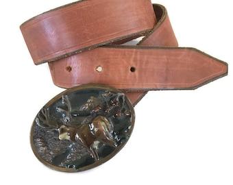 Vintage Leather Belt, BRass Buckle, Elk