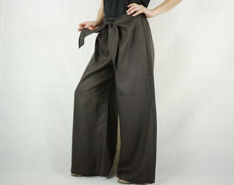 Funky Boho Hip Dark Brown Linen Wide Legs Front Tie Women Pants With Elastic On Back Waist - SM704