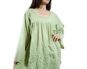 Blossom - Plus Size Bohemian Long Sleeve Azo Free Color Green Light Cotton Blouse With Hand-Embroidered Detail