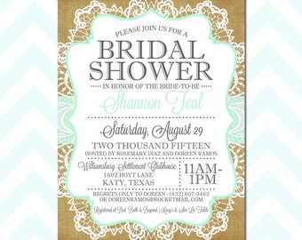 Customized Bridal Shower Invitation, Invite, Burlap, Lace, Mint, Aqua, Vintage, Engagement, Elegant, Party, 5x7 -Digital File for print JPEG