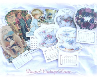 8 Vintage Small Calendars TEA Cups, Child, Vintage Images, Ephemera