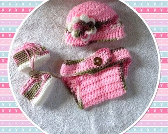 Newborn Baby Outfit, Crochet Diaper Cover, Baby Booties, Flower Hat, Pink Baby Outfits