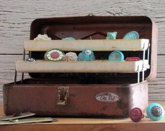 vintage tackle box, tool box, storage box, industrial metal chest, nautical fishing decor, industrial decor