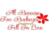All Because Two Buckeyes Fell in Love - Wall Decal - Vinyl Wall Decals, Signage, Love Quote, Ohio State Buckeyes Decal