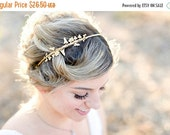Valentines Day Sale Double Flower Vine Headband - A Delicate Floral Headband, Gold Flower and Leaf Vine hair accessory