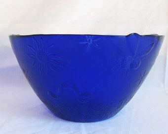 Cobalt Blue Glass Huge Serving Bowl Insect Bug Designs Textured