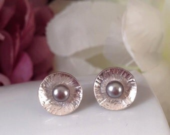 Sterling silver studs with grey pearls