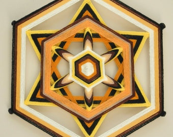 Bee's Knees, a 12 inch, 6-sided Ojo de Dios, by custom order