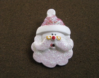 Vintage resin Santa face brooch pin with sparkles