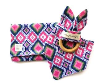 Modern Baby Bib - Burp Cloth - Teething Ring - Gift Set or Individual Sale - Pink Blue Ikat Tribal Style - Baby Gift - Baby Shower Gift