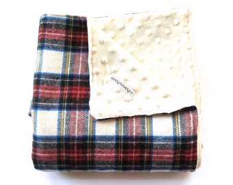 Plaid Baby Blanket - Modern Lumberjack Baby - Flannel Minky Dot Fabric - Warm Winter Stroller Blanket - Christmas Tartan - Scottish Holiday