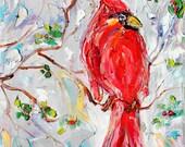 Original oil painting Winter Cardinal bird Portrait abstract impressionism fine art impasto on canvas by Karen Tarlton