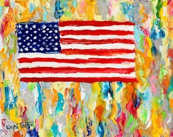 Original oil painting Stars and Stripes palette knife 12x16 impressionism on canvas fine art by Karen Tarlton