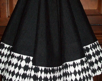 "AMAZING 58"" Black Ribbed and Black and White with Wine Satin Reversible Christmas Tree Skirt 2016 Collection"