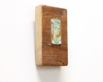 Contemporary Reclaimed Wood Chunk Mixed Media Assemblage Colorful Flower Hair Girl Portrait