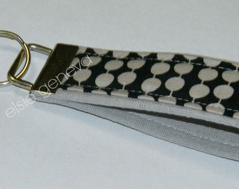 Ready to Ship Grey Taupe Japanese Linen & Dots Key Fob Wristlet Keychain Stripes Zigzag