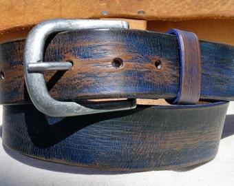 Blue Belt, Vintage Style Leather, Wide Belt, Leather Mens Belt, Belt & Buckle, Blue Leather, Genuine Leather, Accessories for Him, Mens Belt
