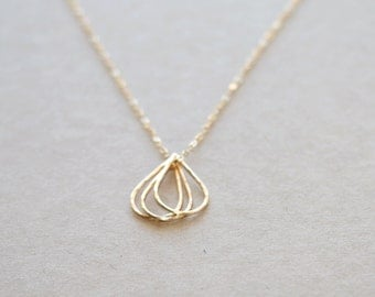 Gold Droplets Necklace in 14K Gold Filled  | Gold Layering Necklace | Gift for Her