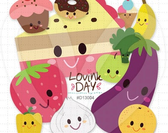 Some Fruits Vegies and Sweets Clip Art Set D13004