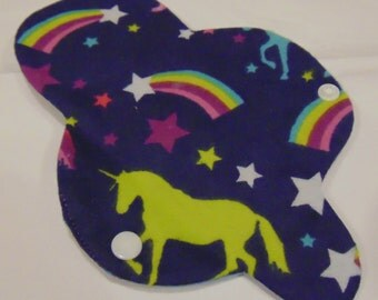 Unicorns and Rainbows Reusable Cotton Thong  Panty Liner, Lightweight,  4 or 6 layers, all 100% cotton flannel.