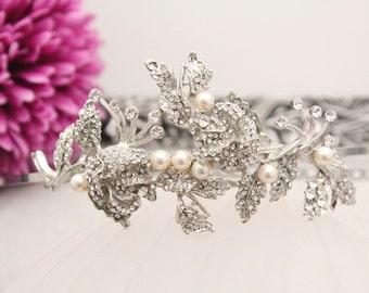 Wedding hair accessories headband,Bridal headband pearl,Wedding hair jewelry headband,Bridal hair piece,Wedding tiara headband,Bridal tiara