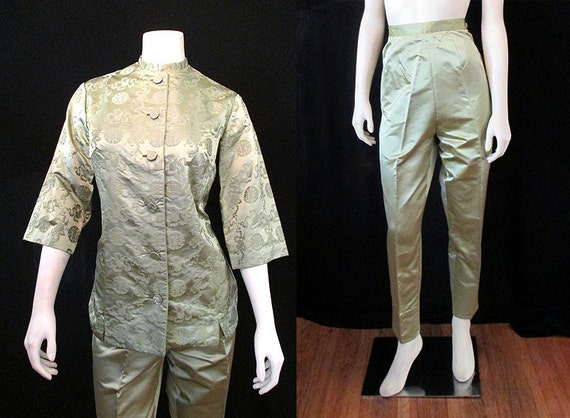 "CLEARANCE Lovely 1960's Silk Cigarette Pants/ Matching Blouse Dead Stock by ""Dynasty"" Rockabilly VLV Pinup Boudoir Vixen Size-Medium"