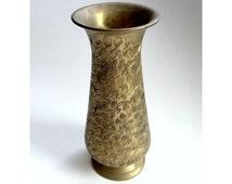 Engraved Brass Vase, Vintage Indian Vase, Brass Indian Home Decor, Carved Brass Vase, Signed Indian Brass Vase, Brass Vase from India