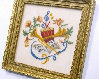 Framed Petite Point, Music Theme Petite Point Wall Hanging, Musical Vintage Art, Framed Vintage Needlepoint, Vintage Needlework