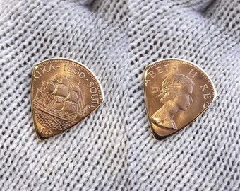 Coin Guitar Pick - Premium Quality - Handmade with a High Grade Vintage 1960 South African Bronze Large Penny
