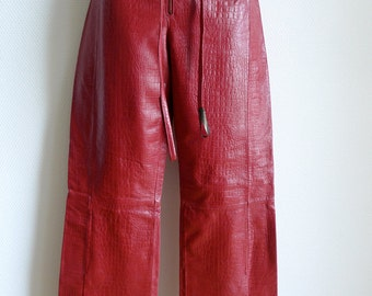 KENZO JUNGLE red leather pants with fake crocodile finish