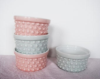Aqua BLUE PINK BOWLS Hobnail Microwave Dishwasher Oven Safe Set Four 4 Turquoise Kitchen Baking Dish Ramekin Serving Dining 1/2 Cup Dessert