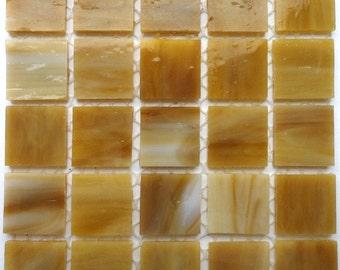 3/4 in. Butterscotch Caramel Marbled Stained Glass Mosaic Tiles//Machine Cut Tiles//Mosaic//Mosaic Supplies