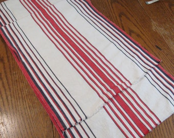 """Vintage Toweling 2 Yard Piece of Cotton and Linen - Beautiful Black and Red Stripes on White  16"""" Wide"""