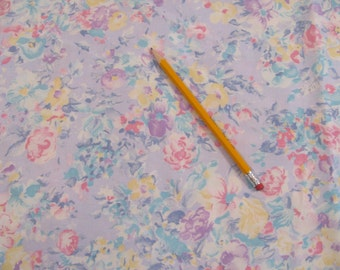 "Vintage Floral Print Fabric - Peter Pan 1970s - Cotton - 44""w -  By the Yard -"