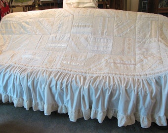Twin Bedspread - Handmade w/ Ribbon and Lace - Quilt Squares - Shades of White -