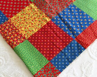 "Cute Vintage Primary Colors ""Cheater"" Quilt Cotton Fabric Print"