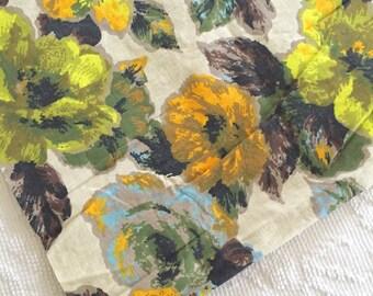 Fab Vintage 1960's Flower Power Cotton Floral Fabric