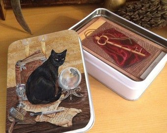Tarot, Oracle Tin Art of Magic, Black Cat of The Hidden Path Oracle Deck,