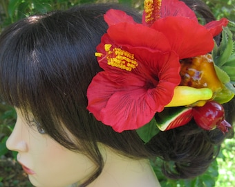 Fruits and Red Hibiscus  - hair Clip - Carmen Miranda style