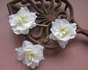 WHITE  Larkspur Flowers SET OF 3 bobby pins - hair clips - Weddings