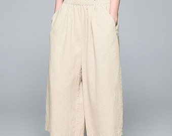 Romantic Beige Pretty Linen Long Pants