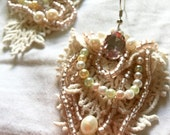 beaded textile earrings. beaded lace and glass pearl and rhinestone dangle earrings