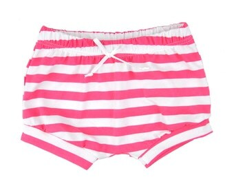 Shorties | Pink Stripes | Sizes 3 Months to 5T baby girl shorts, girl shorts, summer shorts, pink, shorts