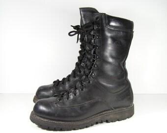 vintage combat boots mens 10 M D black leather insulated gortex work jungle military jumper grunge biker