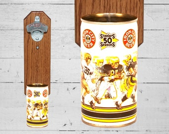 Gift for Guy Steelers 50 Seasons Wall Mounted Bottle Opener with Vintage Beer Can Cap Catcher, Gifts for Groomsmen