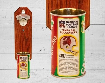 Tampa Bay Buccaneers Wall Mounted Bottle Opener with Vintage Canada Dry Bucs Pop Can Cap Catcher - Gift for Him