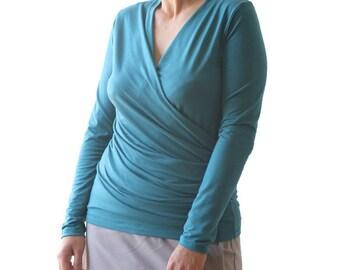 Plus size top - Wrap long sleeve top - Blue top - Wrap top -  Blue wrap top - Made to order top - Handmade top - Plus size clothing
