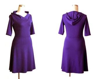 Winter dress, Custom jersey dress, Violet dress, Long sleeve or 3/4 sleeve dress, Hoodie a line dress, Womens clothing, V neck midi dress