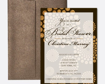 Bridal Shower Invitation - Gold Glitter Swirls - Printing Deposit or Printable / Digital File